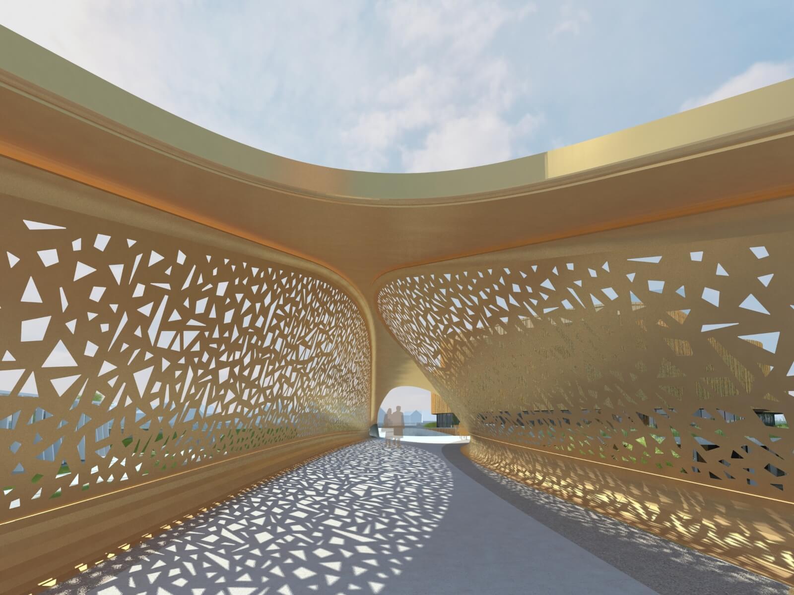 CGI of the new pedestrian bridge at Copr Bay