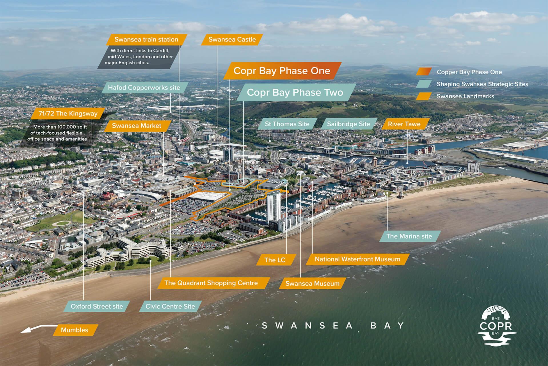 Aerial map of Swansea sites