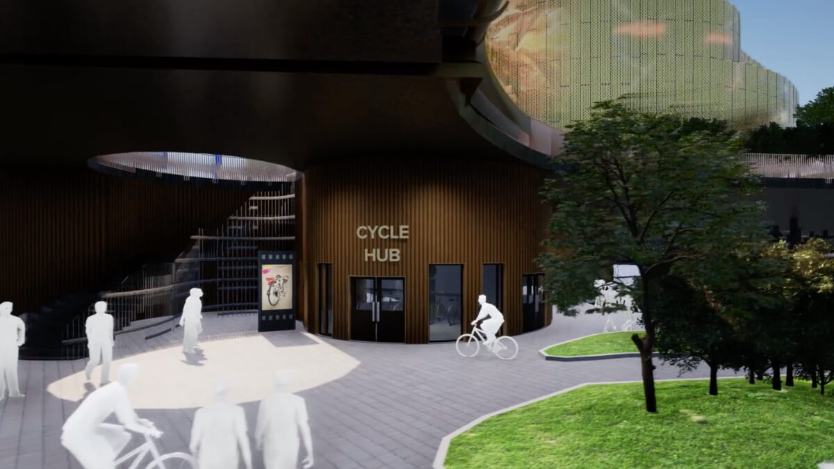 Computer generated image of the Cycle Hub